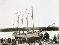 'David Cohen' before launching, Dennysville, ca. 1918