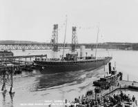 Launching of the yacht CORSAIR (IV) at Bath Iron Works, 1930
