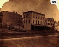Skowhegan buildings near Elm Street, ca. 1880
