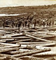 Massive log jam at Pishon's Ferry, Skowhegan, ca. 1870