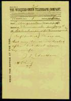 Telegram from J.L. Chamberlain to Brunswick Selectmen, 1880