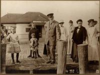 F.E. Stanley on the Squirrel Island Pier