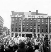 Welcome banner for Lyndon B. Johnson