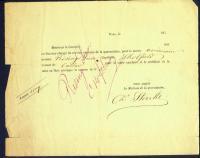 Receipt from Rising Sun, Doel, Belgium, 1860