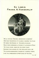 Frank A. Vanderlip bookplate, ca. 1901