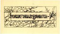 Vincent Yardley Bowditch bookplate, ca. 1890