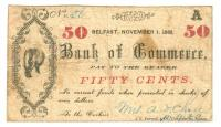 Bank of Commerce Fifty Cent Check, Belfast, 1862