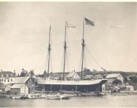 Schooner Lillian Woodruff on the ways in East Boothbay, 1889