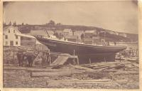 Schooner on the ways at the W.I. Adams shipyard in East Boothbay ca. 1900