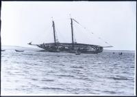 Schooner 'Shamrock' aground on Spruce Point Ledge, July 1925