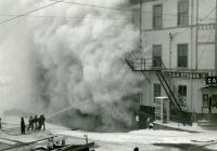 Gay Block fire of 1962, heavy smoke, Waldoboro