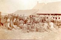 Husking shed, H. F. Webb Corn Shop, Leeds, ca. 1900
