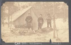 Hunters with caribou, Millinocket Lake, ca. 1898