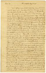 Thomas Jefferson contemplating the sale of frontier land, Philadelphia, 1776