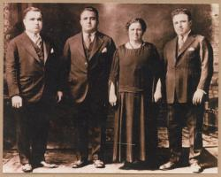 Sarah Unobskey with sons Arthur, William, and Charles, Calais, ca. 1930