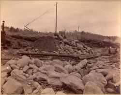 Preparing for dam, Pejepscot Paper Co., Topsham, 1893
