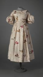 Brocade silk dress with pleated puffed sleeves, ca. 1840