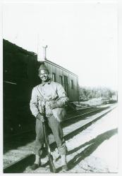 Guard stationed at Onawa Trestle, Morkill, ca. 1942