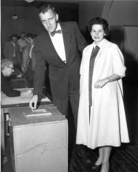 Gov. Edmund S. Muskie and his wife, Waterville, 1956