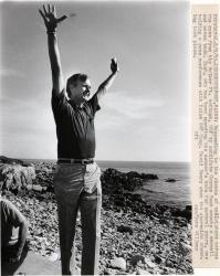 Candidate Bush on beach, Kennebunkport, 1980