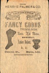 Clothing store advertisement, Bath, ca. 1886