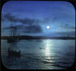 View of Portland harbor by moonlight