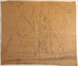 Sail plan drawn by Amos P. Lord, ca. 1930