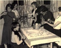 Smith Cottage girls making taffy, Fairfield, ca. 1945