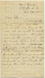 Letter from Rebecca Usher on soldiers' hospital, 1865