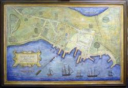 Painted map of destroyed Falmouth Neck, 1775