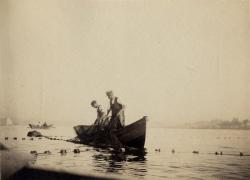 Men in fishing dory, Southwest Harbor, 1890