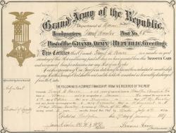 Frank W. Pearce GAR Transfer Card, 1889