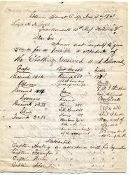 Letter about 12th Maine Regiment supplies, 1861