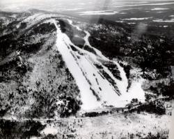 Aerial view of Pleasant Mountain ski trails