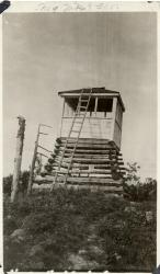 Old fire lookout tower, Number Nine Mountain, ca. 1918