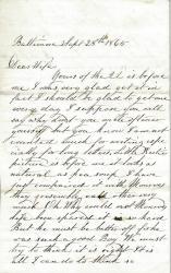 John G. Dillingham to wife, September 28, 1865