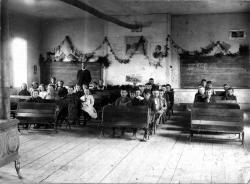 Schoolhouse classroom, Danforth, ca. 1900