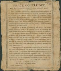 Broadside on end of War of 1812, 1815