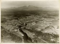 Aerial view of Millinocket and Mt. Katahdin, 1939