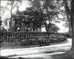 Gov. Coburn house, parade, Skowhegan, ca. 1885