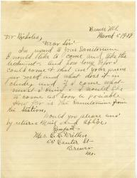 Letter from prospective patient, Maine Sanatorium, 1909