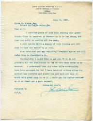 John Calvin Stevens letter concerning payment, 1908