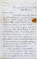 John Marshall Brown letter to sister, 1862