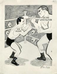 Muskie as wrestler cartoon, undated