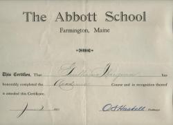 Abbott School Completion Certificate, 1925