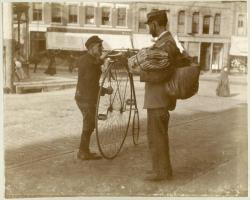 Cyclist and mail carrier, Portland, ca. 1890