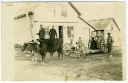 Ox Cart at N.W. Marston's Store, South Lubec, ca. 1880