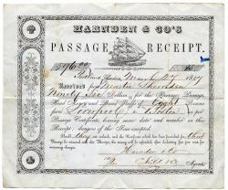 Liverpool to Boston ship passage receipt, 1847