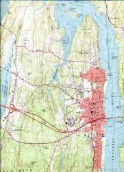 Baths Historic Downtown History Overview - Topographical map of maine