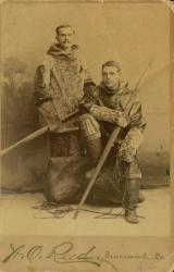 Ernest B. Young and classmate in sealskin clothes, Brunswick, 1891
